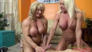 Two Female Bodybuilders Fuck One Dude