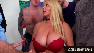 Big Tits Mature Barista Karen Fisher Gets a Five Man Gangbang