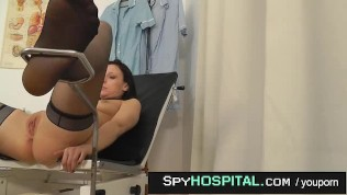 Hot female caught with doctor hidden cam during exam
