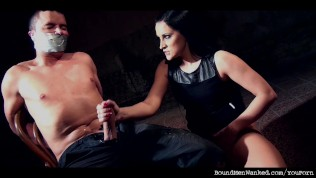 Clair Brooks wanks chair-tied tape-gagged prey