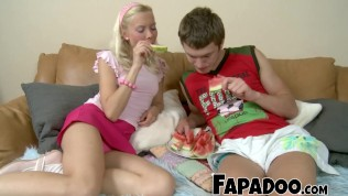 Slim Blonde Watermelon Eating Foreplay!