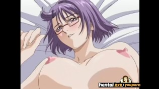Nerdy girl with glasses takes it secretly at the beach - Hentai.xxx