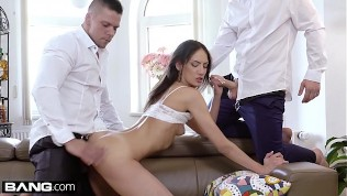 Miky Love gets her mouth and pussy stuffed with cock!