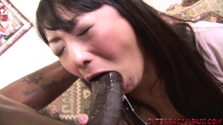 Asian housewife pounded by big black cock and swallows cum
