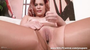 English rose Anna Belle rips open her shiny nude sheer nylon pantyhose and masturbates