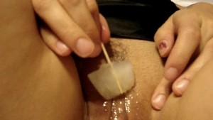 Masturbate with ice made of cum