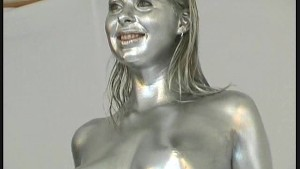 Big Booby fetish Monika completly painted silver