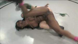 Black & white naked girl-wrestling match!