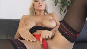 Busty Blonde Working On Her Anal Skills