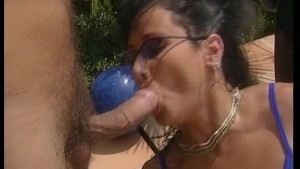 Chick screws hot girl with strapon poolside, then they both fuck some guy wandering by