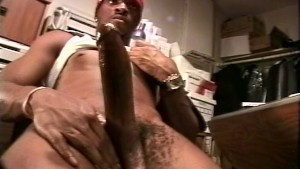Ebony thug stroking his huge dick