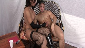 Sexy shemale in fishnets gets fucked