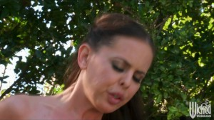 Busty brunette TEEN pool-girl slut sucks & fucks big-dick outdoor