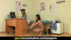 Busty teen girl roughly examinated by army doctor