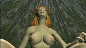 3d animated slut with juicy boobs rides nasty dickgirl