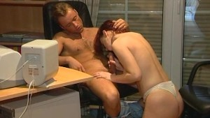 Busty girlfriend sucks and fucks in the office