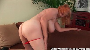 Hairy grandma with big tits has solo sex