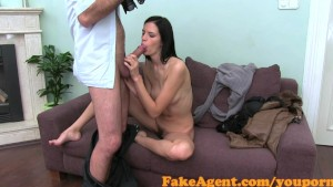 FakeAgent Skinny model with hairy bush fucks in Casting