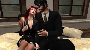 Fred Adjani rencontre une très jolie rouquine Aurélie en tailleur sexy