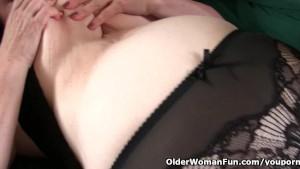 Grandma with big tits wakes up horny