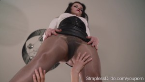 Hairy Pussy Brunette Girl Fucked with a Strapon by Mia