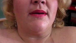 Chunky teacher plays with her big tits and soaking wet pussy
