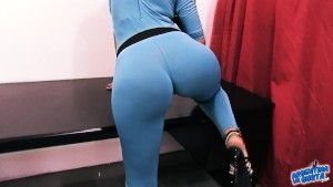 BIG ASS Latina Big Tits Big Cameltoe Pussy In Tight Spandex Wearing G-String