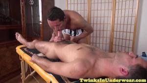 Jockstrapped twunk jizzed on ass before anal