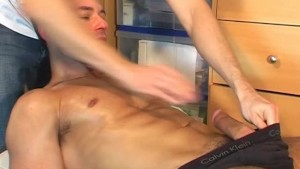A nice innocent repair guy serviced his big cock by a guy!