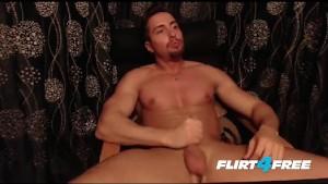Toned Muscular Hunk Jerks His Big Beautiful Uncut Cock
