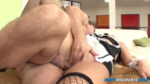 Maid gets mouth spunked