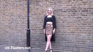 Flashing milf Atlantas public masturbation and outdoor exhibitionism of blonde wife showing shaved pussy and fingering herself outside