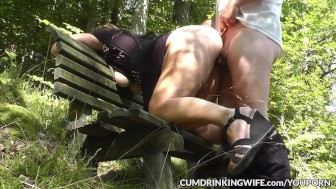 Swinging wife banged by plenty of men in public