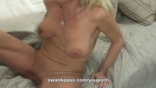 Busty milf Bridtette Lee gobbles youthful cock
