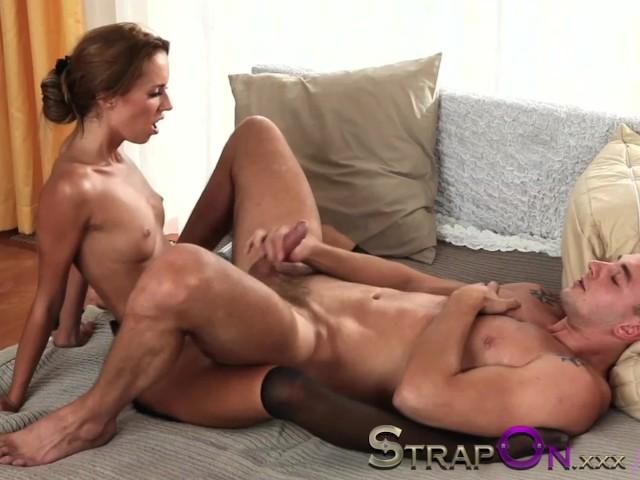 Strapon Girl Guy Threesome