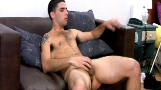 Beefy Latin Man Beats Off On His Couch
