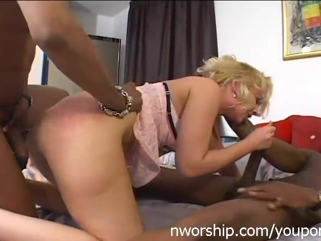 Blonde Girl Threesome With Two Big Black Cocks Anal Double -4760