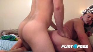 Sexy Latino Flirt4Free Guys Models Angel & Max Bareback and Felch
