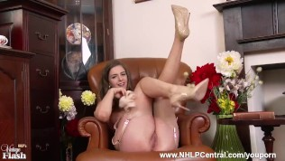 Brunette Stella Cox playing with her natural big tits and pussy dressed in stunning retro lingerie with matching fully fashioned nylons and high heels