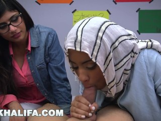 MIA KHALIFA - Arab Expert Cock Sucker Gives Friend Blowjob Lessons-