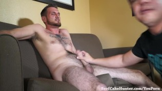 Tall and handsome dude receives his first blowjob from a guy