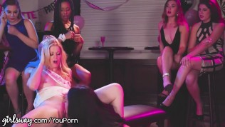 Girlsway Bride Lets Bachelorette Stripper Lick & Trib her in Front of Everyone!