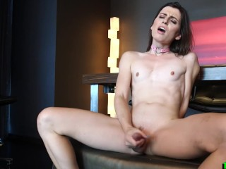 Skinny tranny gets to fuck with toy
