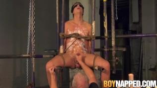 Bound Casper Ellis cums hard after BDSM handjob by Master