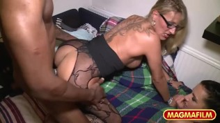 German Milf wet pussies wrecked by a big black cock