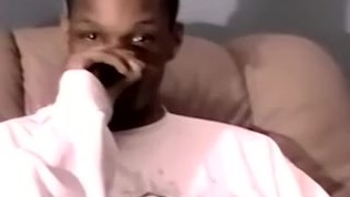 Black young amateur strokes his huge cock while cam recorded