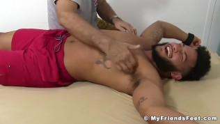Hunky muscular black stud tickle tormented in hardcore 3way