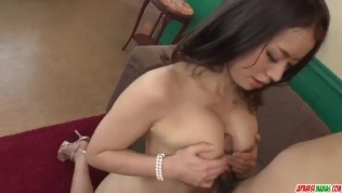Busty Asian beauty rides the cock in rough modes – More at Japanesemamascom