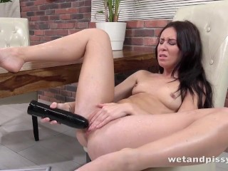 Horny Brunette Pisses Her Jeans