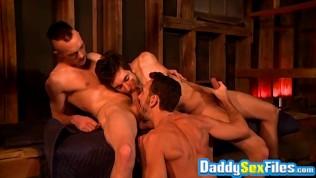 Mature men cum after intense handjob and blowjob session